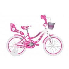 Volare Lovely Kinderfiets - Meisjes - 14 inch - Roze Wit - Twee Handremmen - 95% afgemonteerd