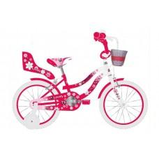 Volare Lovely Kinderfiets - Meisjes - 14 inch - Rood Wit - Twee Handremmen - 95% afgemonteerd