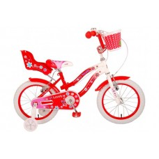 Volare Lovely Kinderfiets - Meisjes - 16 inch - Rood Wit - Twee Handremmen